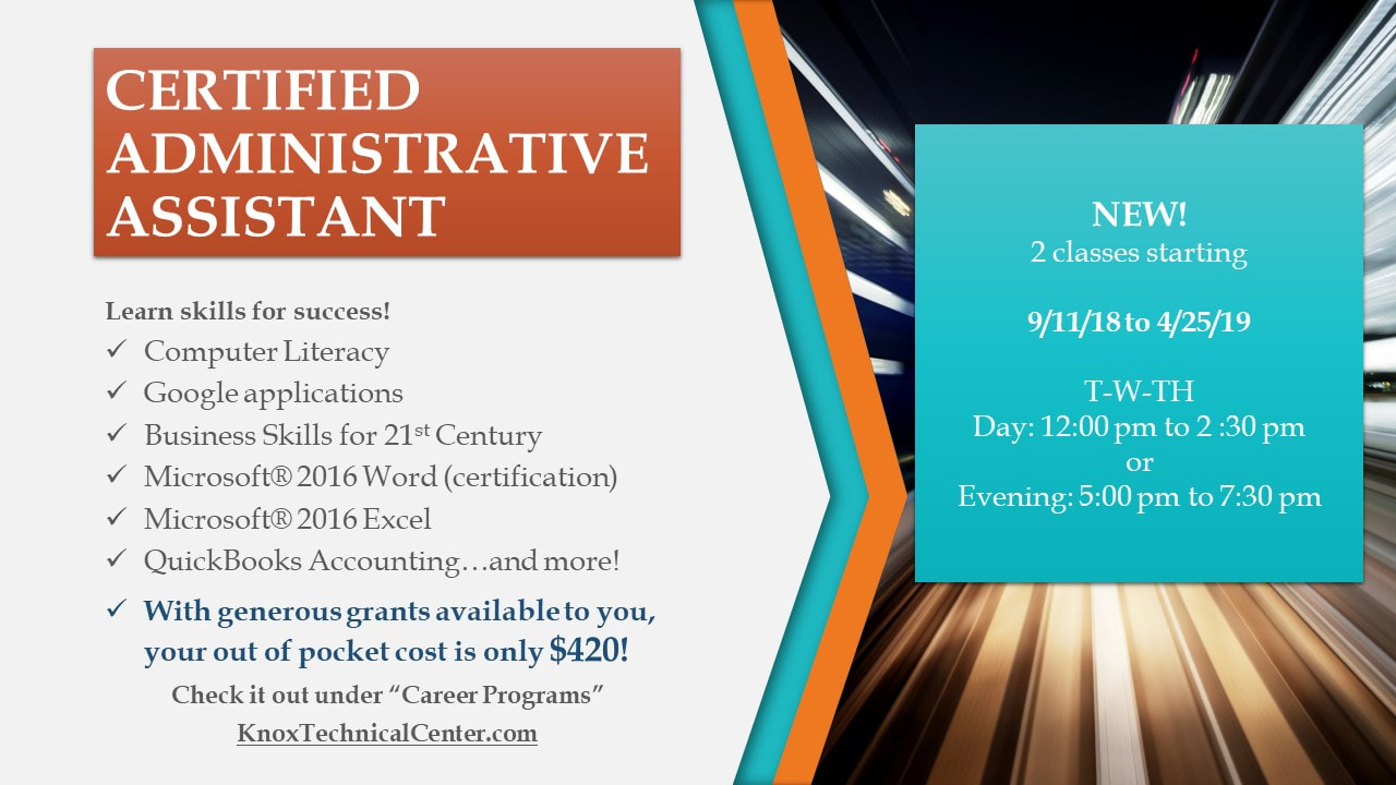 Certified Administrative Assistant Knox Technical Center